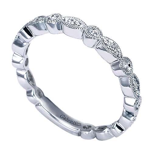 14k White Gold Diamond Wedding Band angle 3