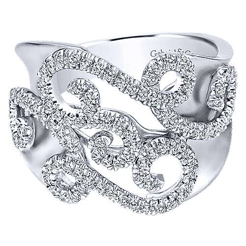 Gabriel - 14k White Gold Flirtation Wide Band Ladies' Ring