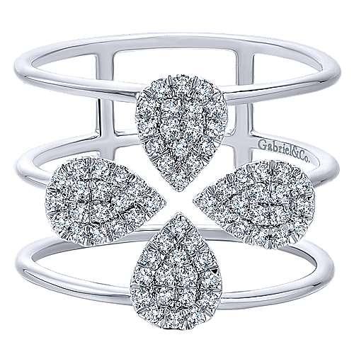 Gabriel - 14k White Gold Kaslique Wide Band Ladies' Ring
