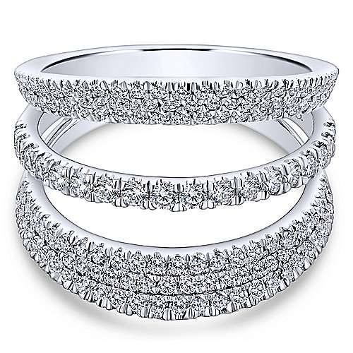 Gabriel - 14k White Gold Silk Wide Band Ladies' Ring