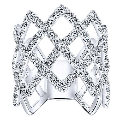 14k White Gold Diamond Wide Band Ladies