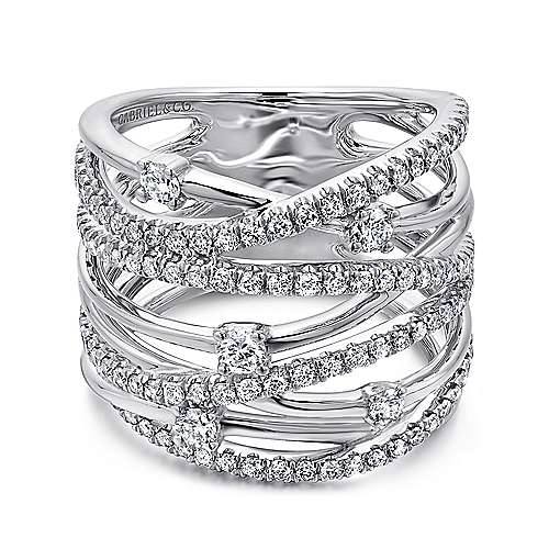 14k White Gold Diamond Wide Band