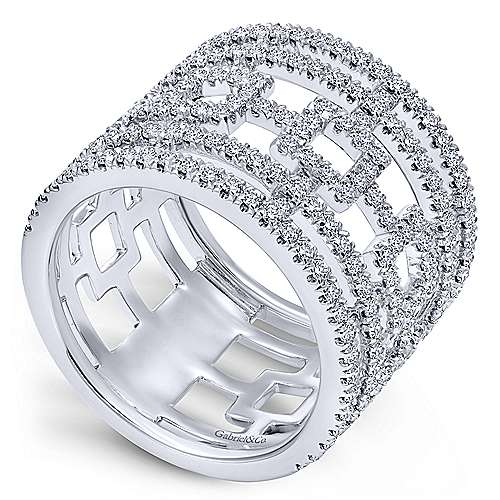 14k White Gold Diamond Wide Band Ladies