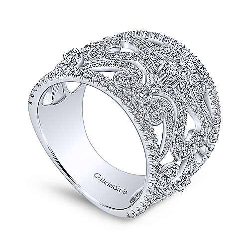 14k White Gold Diamond Wide Band Pave Filgree Ladies
