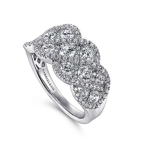 14k White Gold Diamond Wide Pave Braid Band Ladies