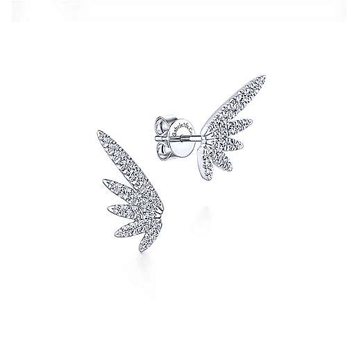 Gabriel - 14k White Gold Diamond Wing Stud Earrings