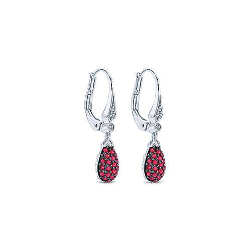 14k White Gold Diamond and Ruby Cluster Drop Earrings