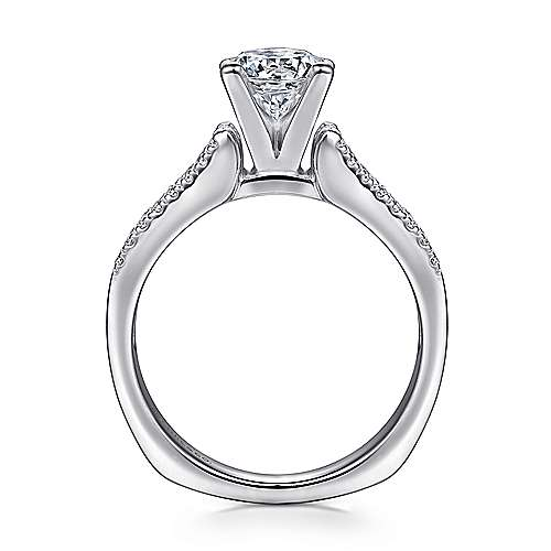 14k White Gold Double Pave European Shank Diamond Engagement Ring angle 2