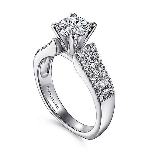 14k White Gold Double Pave European Shank Diamond Engagement Ring angle 3