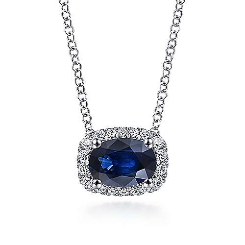 14k White Gold East West Oval Sapphire Diamond Halo Necklace