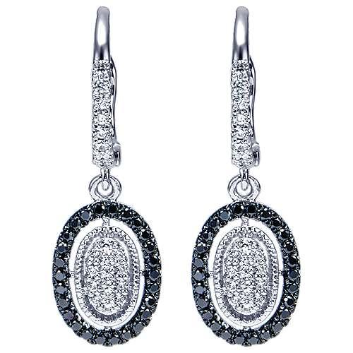 Gabriel - 14k White Gold Ebony Ivory Drop Earrings