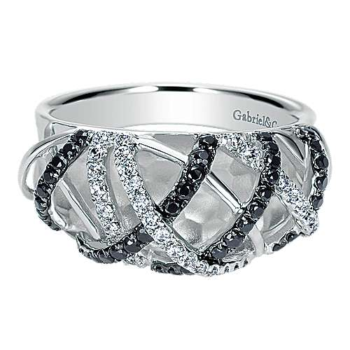 14k White Gold Ebony Ivory Fashion Ladies' Ring angle 1
