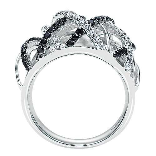 14k White Gold Ebony Ivory Fashion Ladies' Ring angle 2