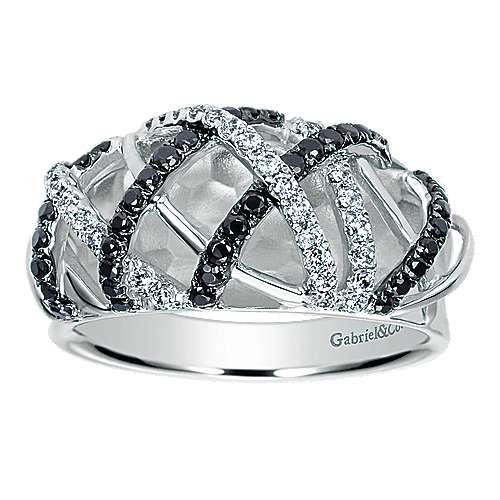 14k White Gold Ebony Ivory Fashion Ladies' Ring angle 4