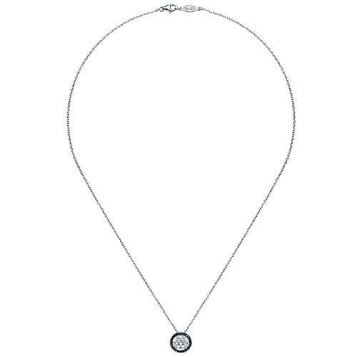 14k White Gold Ebony Ivory Fashion Necklace angle 2