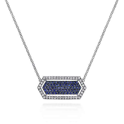 Gabriel - 14k White Gold Elongated Hexagonal Diamond & Sapphire Fashion Necklace