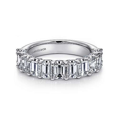 Gabriel - 14k White Gold Emerald Cut 11 Stone Prong Set Diamond Anniversary Band