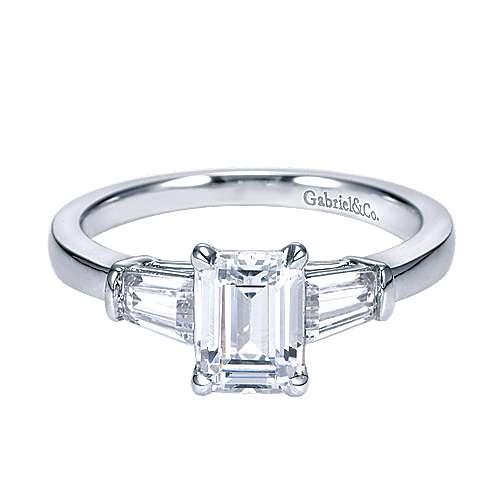 14k White Gold Emerald Cut 3 Stones