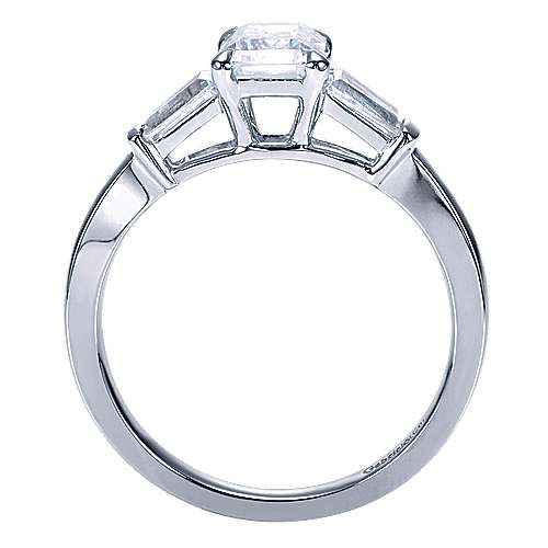 14k White Gold Emerald Cut 3 Stones Engagement Ring angle 2