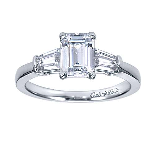 14k White Gold Emerald Cut 3 Stones Engagement Ring angle 5