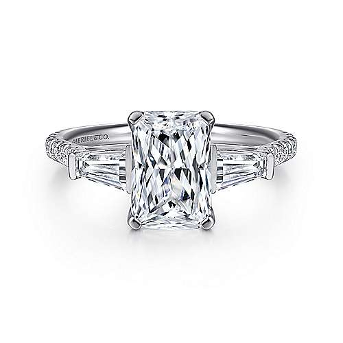 Gabriel - 14k White Gold Emerald Cut 3 Stones Engagement Ring