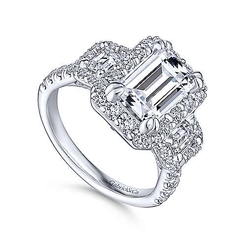 14k White Gold Emerald Cut 3 Stones Halo Engagement Ring angle 3