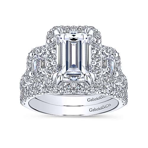 14k White Gold Emerald Cut 3 Stones Halo Engagement Ring angle 4