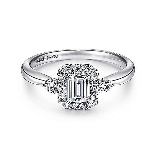 Gabriel - 14k White Gold Emerald Cut 3 Stones Halo Engagement Ring