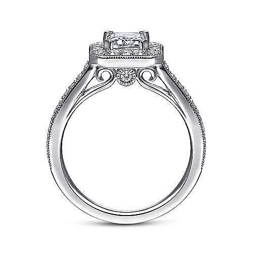 14k White Gold Emerald Cut Diamond Halo Engagement Ring with Channel Setting angle 2