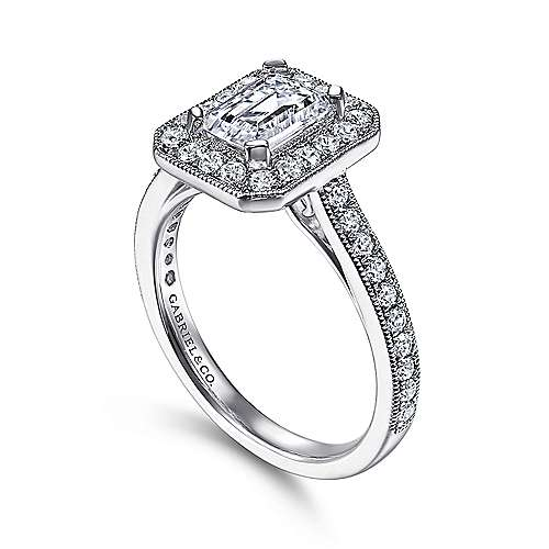 14k White Gold Emerald Cut Diamond Halo Engagement Ring with Channel Setting angle 3
