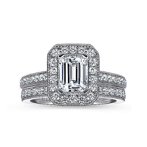 14k White Gold Emerald Cut Diamond Halo Engagement Ring with Channel Setting angle 4