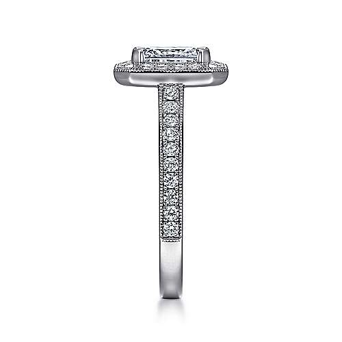 14k White Gold Emerald Cut Diamond Halo Engagement Ring with Channel Setting angle 5