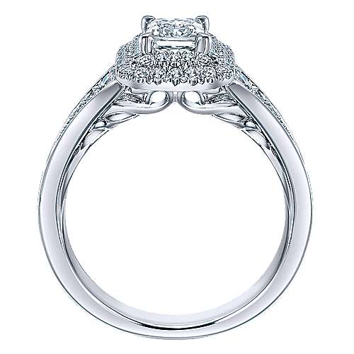 14k White Gold Emerald Cut Double Halo Engagement Ring angle 2