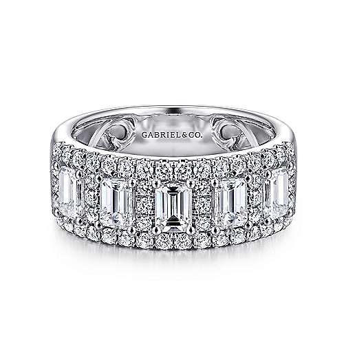 Gabriel - 14k White Gold Emerald Cut Fancy Anniversary Band