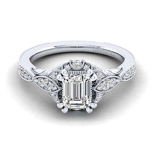 Gabriel - 14k White Gold Emerald Cut Halo Engagement Ring
