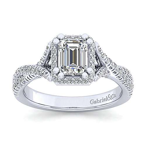 14k White Gold Emerald Cut Halo Engagement Ring