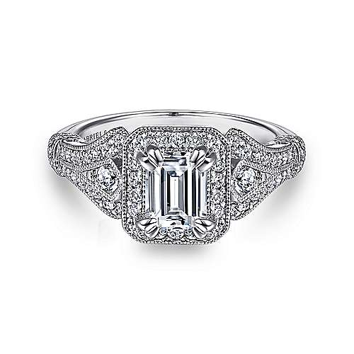 Gabriel - 14k White Gold Emerald Cut Halo Engagement Ring