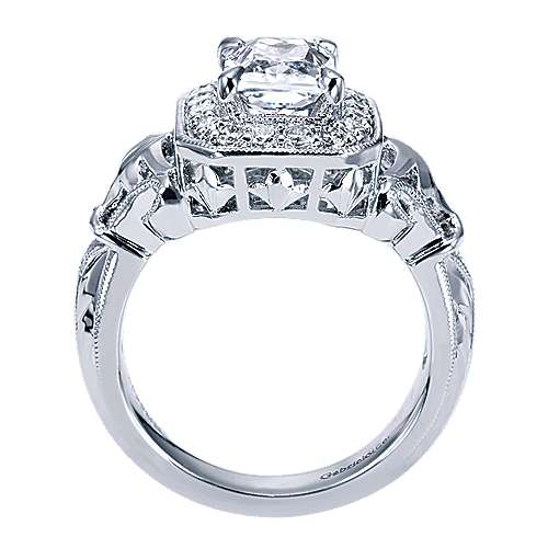 14k White Gold Emerald Cut Halo Engagement Ring angle 2