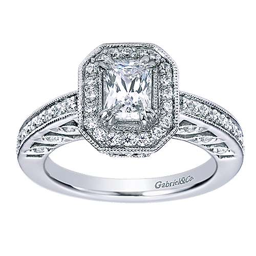 14k White Gold Emerald Cut Halo Engagement Ring angle 5