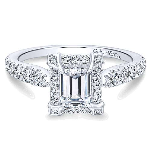 14k White Gold Emerald Cut Halo