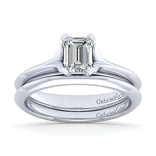 14k White Gold Emerald Cut Solitaire Engagement Ring angle 4