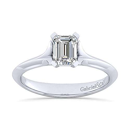 14k white gold emerald cut solitaire engagement ring