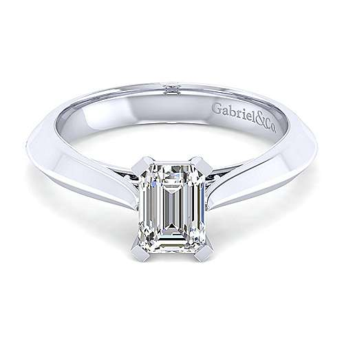 Gabriel - 14k White Gold Emerald Cut Solitaire Engagement Ring