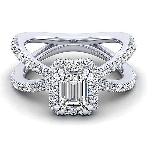 Gabriel - 14k White Gold Emerald Cut Split Shank Engagement Ring