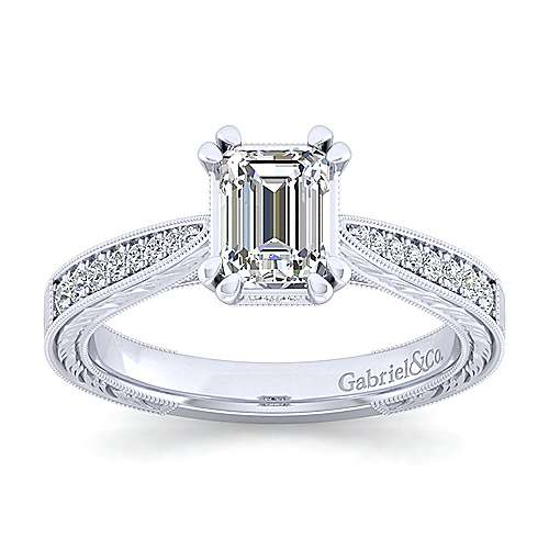 14k white gold emerald cut engagement ring