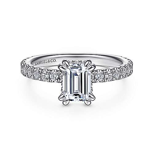 14k White Gold Emerald Cut Straight Engagement Ring angle 1