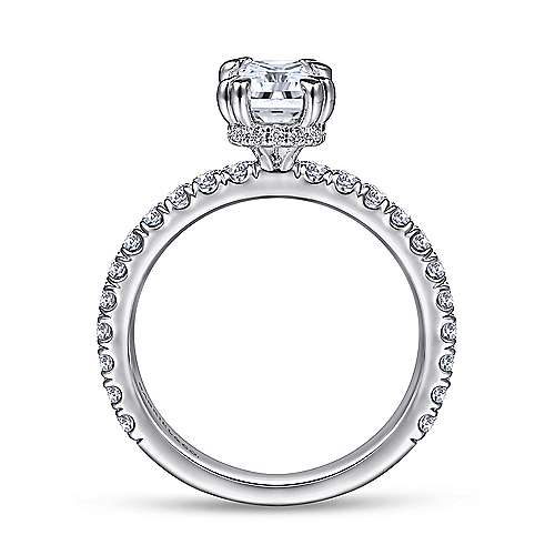 14k White Gold Emerald Cut Straight Engagement Ring angle 2