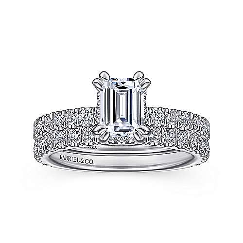 14k White Gold Emerald Cut Straight Engagement Ring angle 4