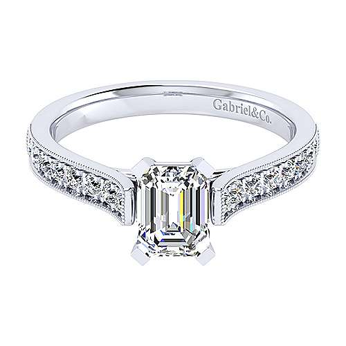 14k White Gold Emerald Cut Straight Engagement Ring