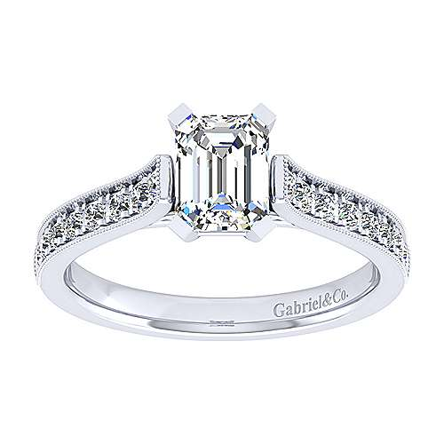 14k White Gold Emerald Cut Straight Engagement Ring angle 5